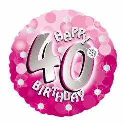 Amscan 18 tum rosa glad 40-årsdag cirkulär folie ballong One Siz
