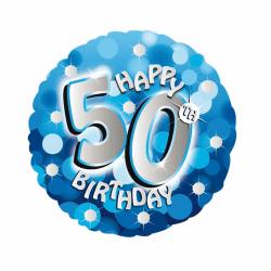 Amscan 18 tums blå glad 50-årsdag cirkulär folie ballong One Siz