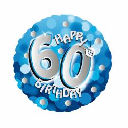 Amscan 18 tums blå lycklig 60-årsdag cirkulär folie ballong One