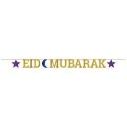 Amscan Eid Mubarak Glittery Letter Banner W3.65m Guld / Blå / Li