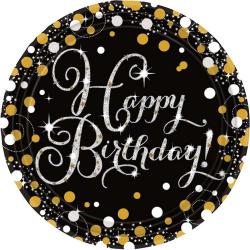 Amscan Glittrande guld- födelsedagskort för födelsedag (paket me