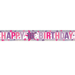 Amscan Holographic Happy 16th Birthday Banner One Size Rosa