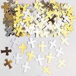 Amscan Metallic Crosses Confetti 14g Guld silver