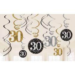 Amscan Mousserande guldfirande 30-års födelsedag hängande virvel