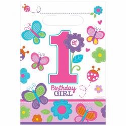 Amscan Sweet 1st Birthday Girl Loot Väskor (paket med 8) One Siz
