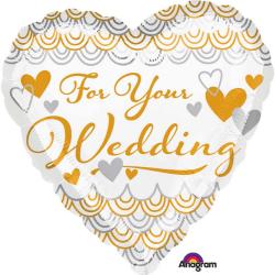 Anagram 18 tum för ditt bröllop hjärtfolie ballong 18 inch Vitt