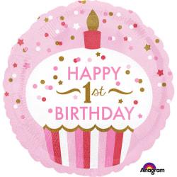 Anagram 18 tum första födelsedag Cupcake Circle Girl Folie Ballo