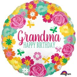 Anagram 18 tums lycklig födelsedag mormor Floral Circle folie ba