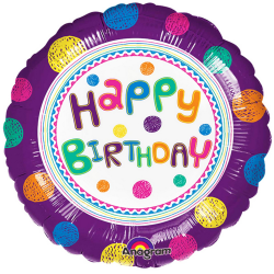 Anagram 18 tums SpotOn Happy Birthday Circle Foil Balloon One Si