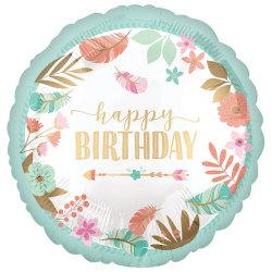 Anagram 18in Blommig rund folieballong med lycklig födelsedag 18