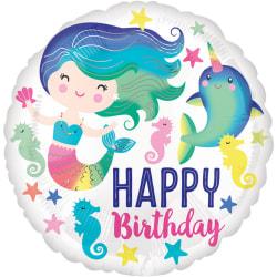 Anagram 18in Happy Birthday Sea Life Round Foil Balloon 18in Vit