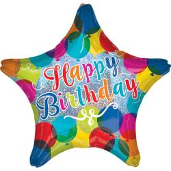 Anagram 18in Happy Birthday Sparkle Balloons Star Foil Balloon 1
