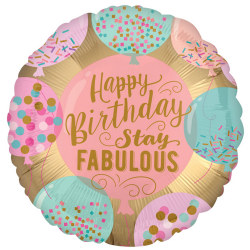 Anagram 18in Happy Birthday Stay Fabulous Round Foil Balloon 18i