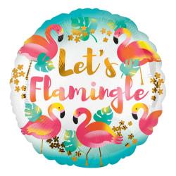Anagram 18in Lets Flamingle Round Foil Balloon 18in Flerfärgade