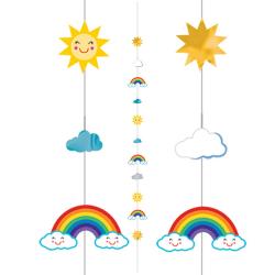 Anagram Ballong kulsträngar One Size Sol / Rainbow / moln