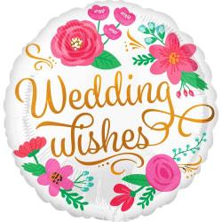 Anagram Bröllop önskar blommig rund folie ballong 18in Vit / Gul