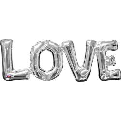 Anagram Fras Supershape Air Filled Balloon Love Silver