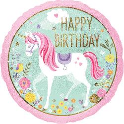 Anagram Grattis på födelsedagen Unicorn 2-sidigt 18in folie ball