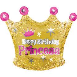 Anagram Lycklig födelsedag Princess Crown Formad folieballong On