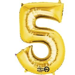 Anagram Mini Shape 16 tum guldnummer / bokstavsballong 5 Guld
