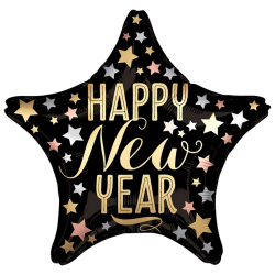 Anagram Star New Year Satin Luxe Foil Balloon One Size Svart gul