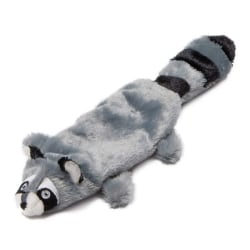 Animate Raccoon Flat Friend Plush Dog Toy 38 x 7 x 3cm Grå