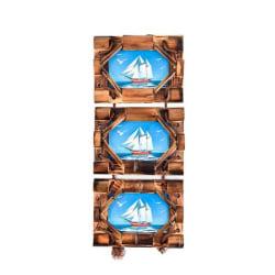 Arpan Handgjord bambu och rep Octagon detalj 3 bild fotoram 4 x