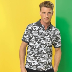 Asquith & Fox Camo Print Polo shirt med kort ärm 3XL Camo Blue