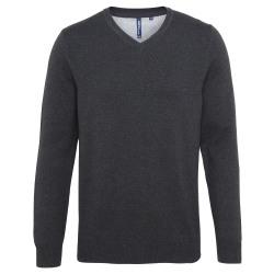 Asquith & Fox Herr bomullsrik v-ringad tröja XL Svart ljung