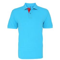 Asquith & Fox Kontrast-poloskjorta för herrar S Turkos / röd