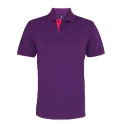 Asquith & Fox Kontrast-poloskjorta för herrar XL Lila / rosa