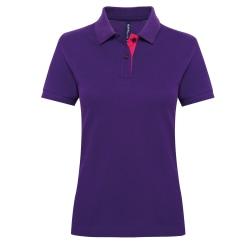 Asquith & Fox Kvinnors / damer kortärmad kontrastpikétröja XL Purple/ Pink XL