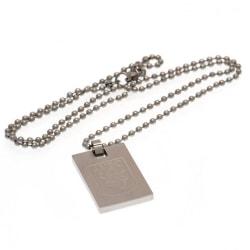 Aston Villa FC Crest Dog Tag & Chain One Size Silver