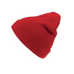 Atlantis Wind Double Skin Beanie With Turn Up One Size Av röd