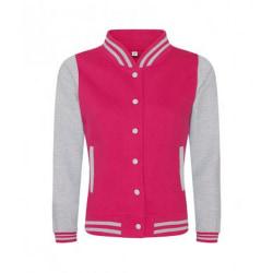 AWDis Dam / Girlie Varsity Jacka Medium Hot Pink / Heather Grey
