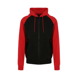 AWDis Just Hoods Mens Baseball Zoodie L Jet Black / Fire Red