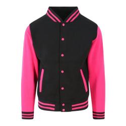 Awdis Unisex Varsity Jacka XL Jet Black / Hot Pink