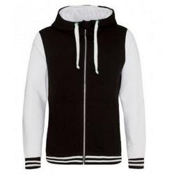 AWDis Urban Varsity Zoodie för män L Jet Black / Arctic White