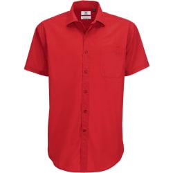 B&C herrsmart kortärmad skjorta / herrskjorta 3XL Mörkröd