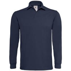 B&C Mens Heavymill bomull långärmad poloskjorta L Marin