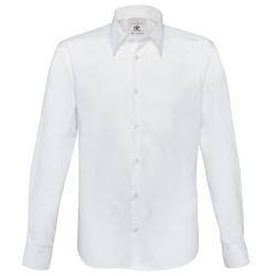 B&C Mens London långärmad Poplin-skjorta S Vit