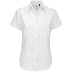 B&C Oxford kortärmad tröja / damskjortor XL Vit White XL