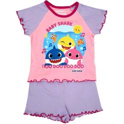Baby Shark Shortie Pyjamas set för flickor 2-3 Years Rosa / Lila