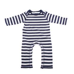 Babybugz Baby Stripy Rompasuit / Baby And Toddlerwear 12-18 Navy