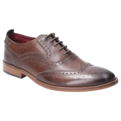 Base London Herrfokus Washed Lace Up Brogue Läderskor 7 UK Brun
