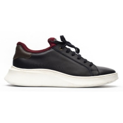 Base London Mens Crescent Waxy Leather Trainers 10 UK Marinblå /
