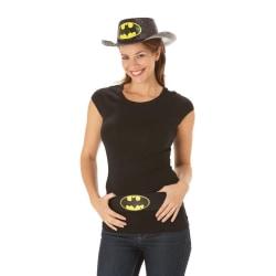 Batmam Dam / Batgirl Glitter Stetson Hat One Size Svart