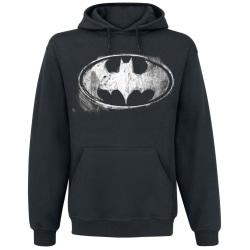 Batman Unisex Vuxna Distressed Monochrome Logo Pullover Hoodie M