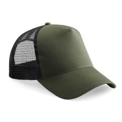 Beechfield Half Mesh Trucker Cap / Headwear One Size Olivgrön /