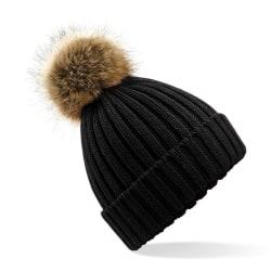 Beechfield Unisex cuffed Design vinterhatt One Size Svart